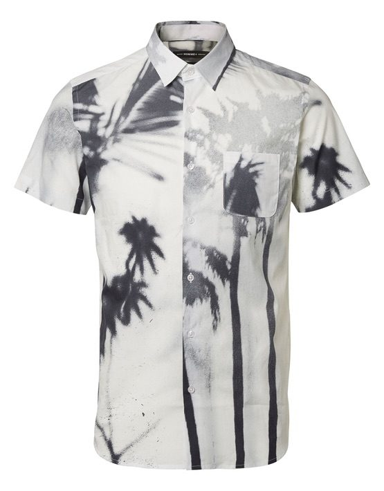 Selected Skjorte - Short Sleeve Xone Fadepalm White
