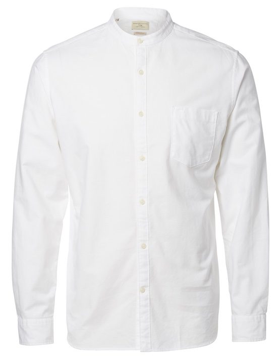 Selected Skjorte China Collar - White