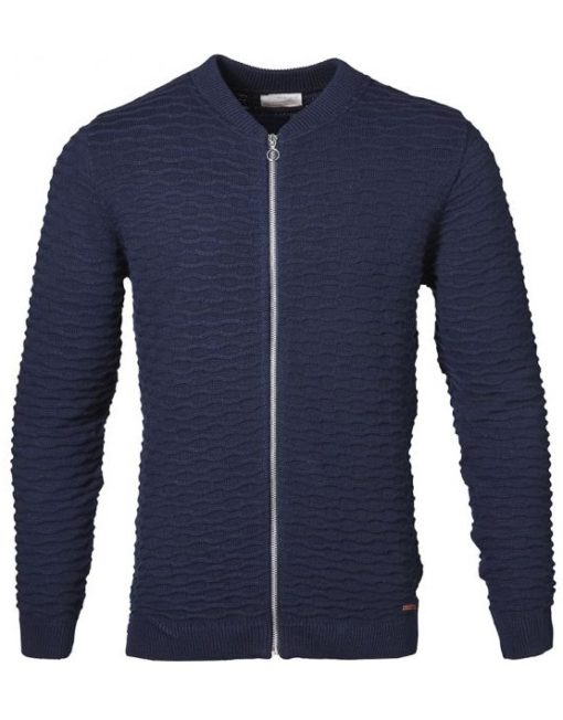 Knowledge Cotton Apparel Cardigan - Bobble Look Navy