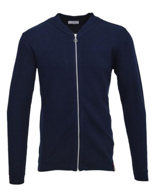Knowledge Cotton Apparel Cardigan - Eyelet Navy