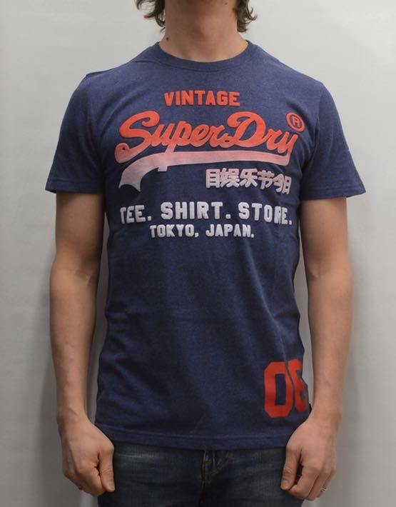 Superdry T-Shirt - Shirt Shop Fade Tee Blue Marl