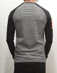 Superdry T-Shirt - Trackster Baseball Flint Grey L/S