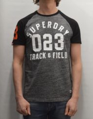 Superdry T-Shirt – Flint Grey Grit Trackster Baseball ss
