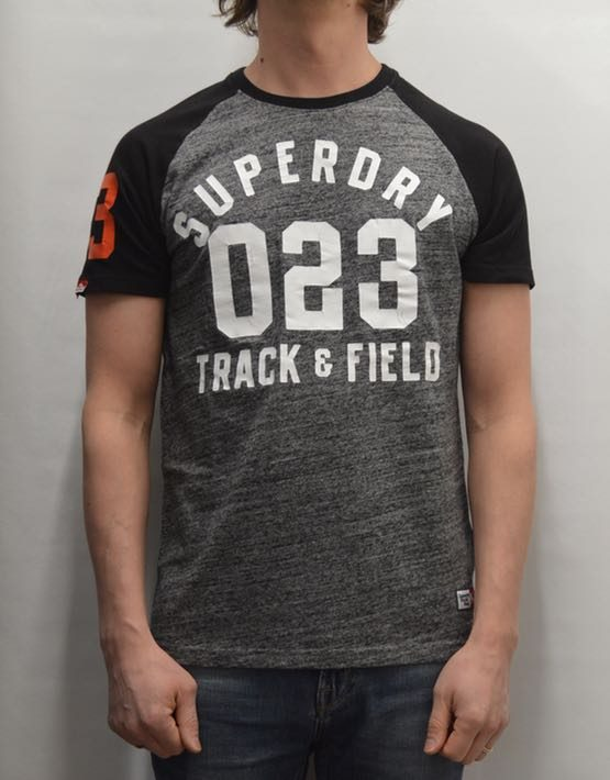 Superdry T-Shirt - Flint Grey Grit Trackster Baseball ss