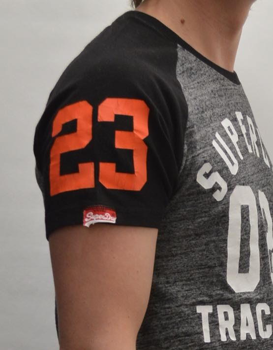Superdry T-Shirt - Flint Grey Grit Trackster Baseball ss