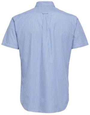 16057321 Selected Skjorte - SHHONELOUIS SS LIGHT BLUE/WHITE STRIPET | GATE 36 HOBRO