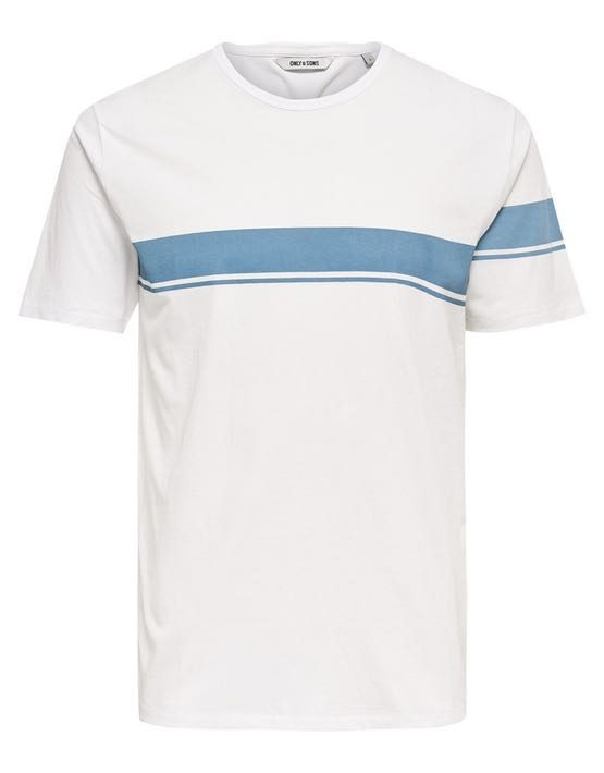 22006126_AegeanBlue | Only & Sons T-Shirt - Toke SS Tee White Blue Stripe | GATE 36