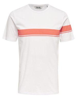 22006126_BurntSienna | Only & Sons T-Shirt - Toke SS Tee White Red Stripe | GATE 36 Hobro