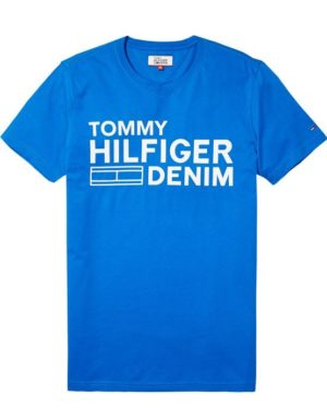 DM0DM02192419 HILFIGER DENIM - LOGO T-SHIRT Blue/White | GATE 36 HOBRO