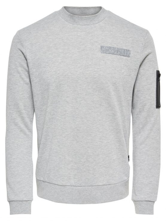 Only & Sons - Colin Sweat Light Grey   GATE36 Hobro