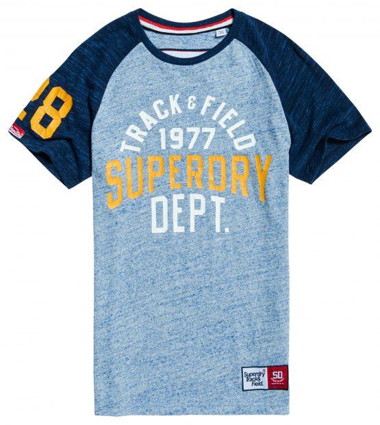 Superdry T-Shirt - Trackster Baseball ss Zinc Blue   GATE36 Hobro