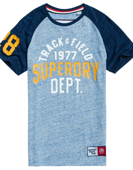 Superdry T-Shirt - Trackster Baseball ss Zinc Blue | GATE36 Hobro
