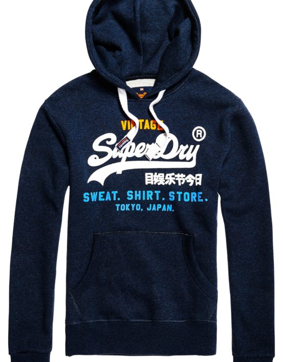 Superdry Sweat - Tri Hoodie Blue Black | Gate 36 Hobro