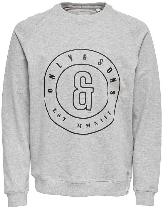 Only & Sons - FANA LOGO SWEAT LIGHT GREY | Gate 36 Hobro