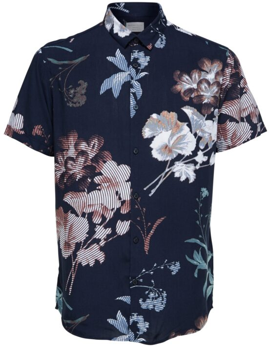 Selected Skjorte - Wovis Sun S/S AOP Dark Sapphire | Gate 36 Hobro