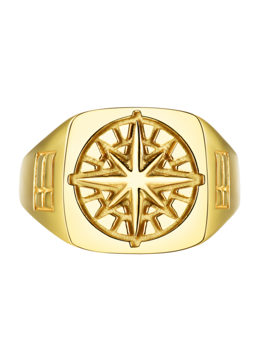 Compass Signature Ring Guld