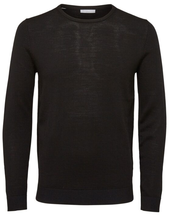 Selected - Tower Merino Strik Crew Black | Gate 36 Hobro