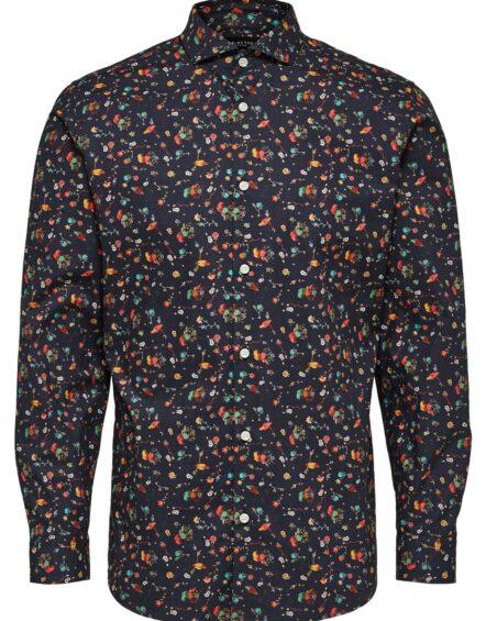 Selected Skjorte – Slim Birds Shirt Navy AOP