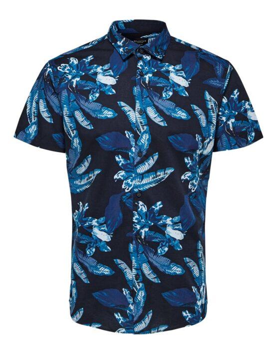 SELECTED SlimAsher Skjorte Navy/AOP