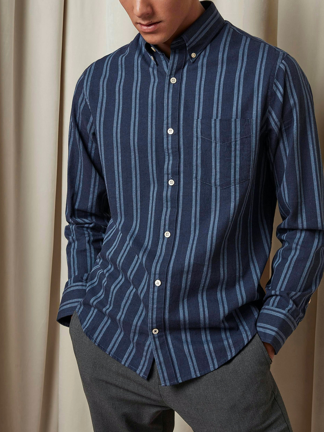 NN07 - Levon Shirt 5728 navy stripe | GATE 36 Hobro