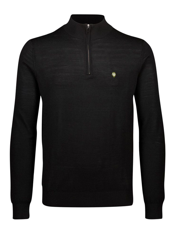 Junk De Luxe Ulrik fine merino wool half zip black | GATE 36 Hobro