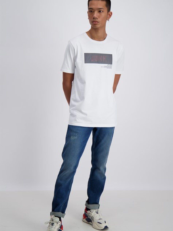 Junk De Luxe - Vilfred logo stripe print tee white | GATE 36 Hobro
