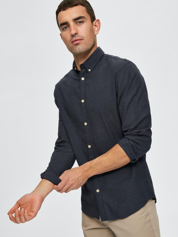 Selected Skjorte - Slhslimhouston shirt Dark Sapphire | GATE 36 Hobro