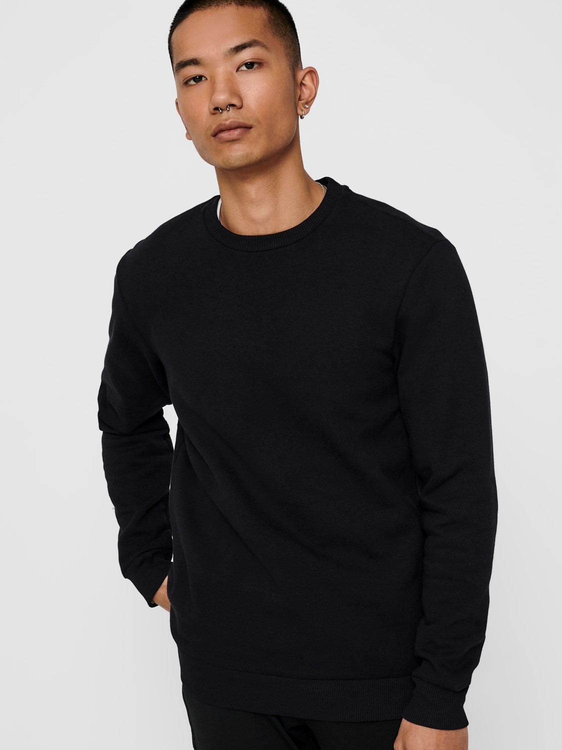 ONLY & SONS - ONSCERES CREW NECK BLACK | GATE36