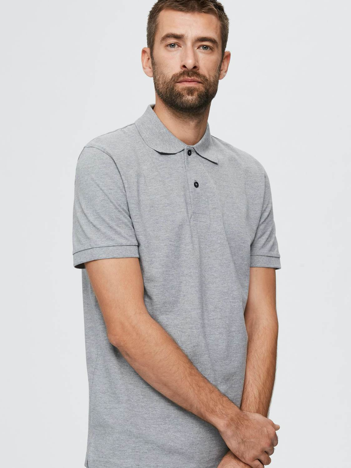 SELECTED POLO T-SHIRT SLHNEO GREY MEL | GATE 36 Hobro