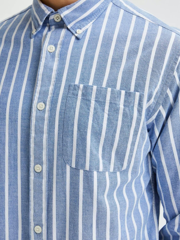 Selected Skjorte - Slhsregrick-ox Navy/Stripes | GATE 36 Hobro