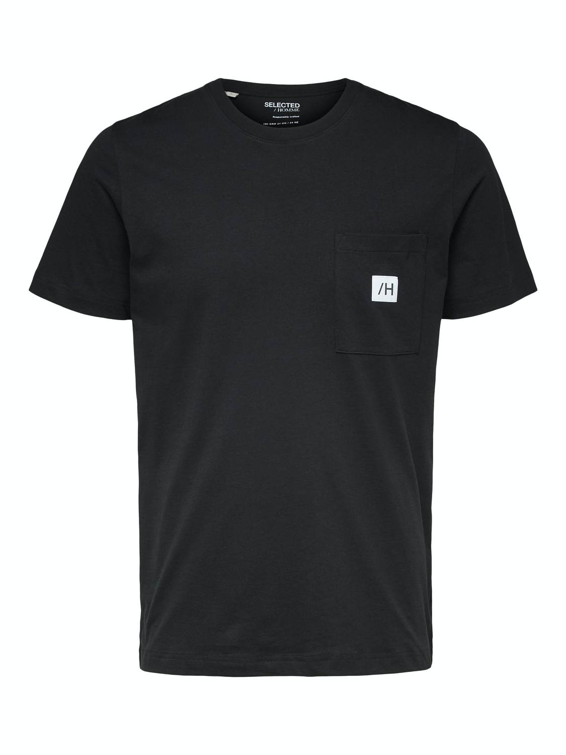 SELECTED T-SHIRT SLHENZO POCKET BLACK | GATE 36 Hobro