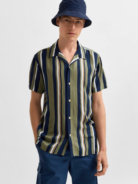Selected Skjorte - SLHREGMICHAEL SHIRT STRIPES ALOE/CUBAN COLL   Gate36 Hobro