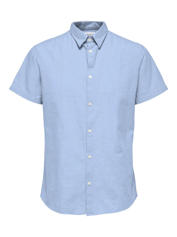 Selected Skjorte - SLHREGNEW-LINEN DARK BLUE STRIPES | Gate36 Hobro