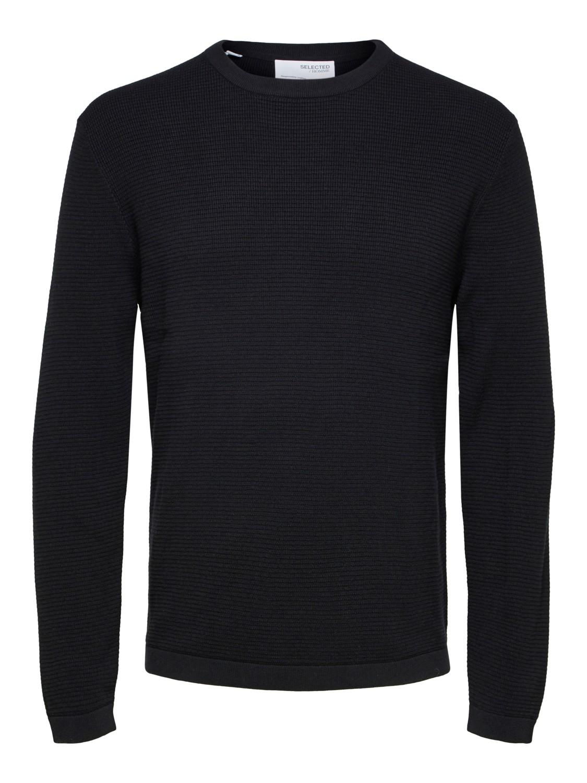 Selected strik - slhrocks knit crew neck Black | Gate36 Hobro