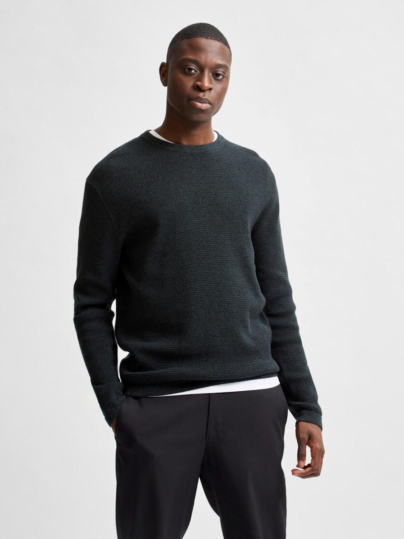 Selected strik - slhrocks knit crew neck darkest spruce | Gate36 Hobro