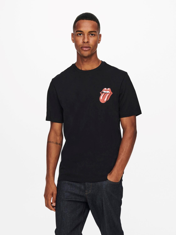 Only & Sons T-Shirt onsstones life reg black/back print | Gate36 Hobro