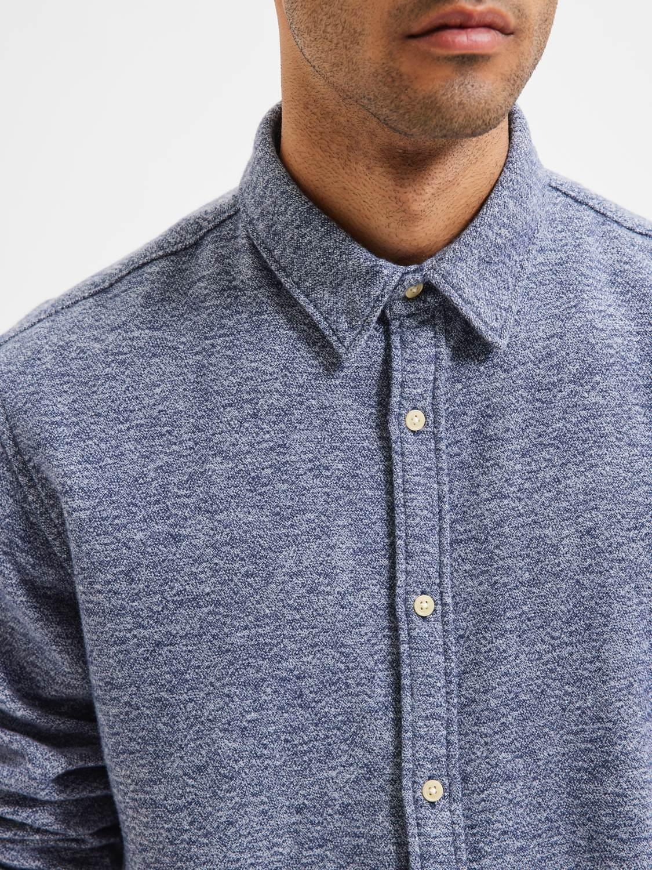 Selected Skjorte - Slhregtrade Shirt Dark Blue Structure | GATE 36 Hobro