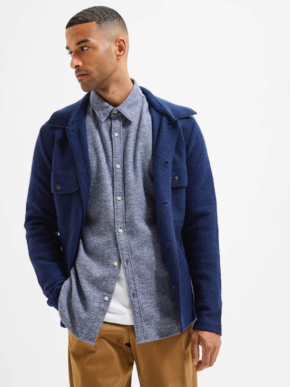 Selected Skjorte - Slhregtrade Shirt Dark Blue Structure   GATE 36 Hobro