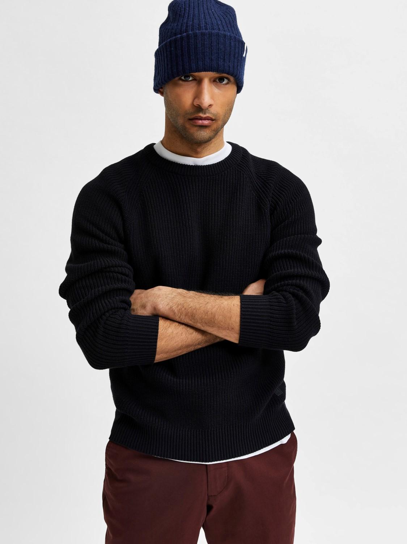 Selected strik - slhirven knit crew Black | GATE 36 HOBRO