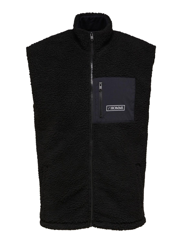 Selected Vest - SLHREGTED FLEECE WAISTCOAT BLACK   GATE 36 HOBRO